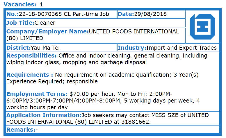 New Home Association - Cleaner (United Foods International (80) Limited)